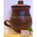 Чашка из красной глины чайная с крышкой